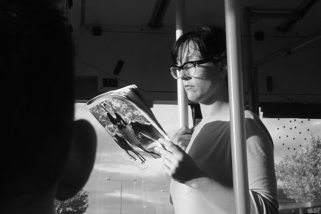 Reading on the bus, in bw
