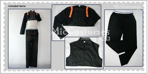 Naruto Sai Black and Grey Cosplay Costume