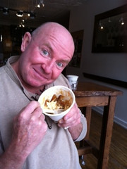 Our dear friend Mike Morgan digging the poutine in Toronto
