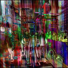 Nuite Blanche: Yonge & Bloor (Tim Noonan) Tags: street people signs toronto art bike night digital photoshop buildings crowd vivid manipulation imagination yonge bloor citytv hypothetical vividimagination shockofthenew nuiteblanche sotn sharingart maxfudge awardtree maxfudgeexcellence maxfudgeawardandexcellencegroup trolledproud magiktroll exoticimage netartii donnasmagicalpix