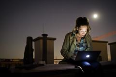 Moonlighting (dawolf-) Tags: night moon laptop apple rooftop macbook moonlight chimney terrace woman girl typing sigma 30mm portfoliofaces recreatethumbs
