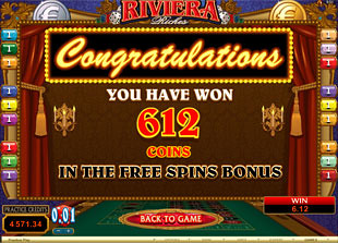 Riviera Riches free spins prize