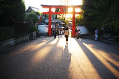 melting into the light of sunset (Yasaka shrine, Kyoto) (Marser) Tags: sunset japan kyoto shrine raw dusk   torii   x100 silkypix finepixx100