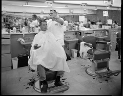 One-A-Day, 9/8/11 Allstate Barber College (mat4226) Tags: city longexposure ohio portrait bw film college oneaday shop self hair buzz town diy downtown all fuji angle flat state cut top cleveland w wide n naturallight ne 8x10 barbershop barber cutting oh hp5 f56 northeast flattop ilford fujinon cutter largeformat allstate zonesystem barbers selfie cle filmphotography eastmankodak sheetfilm 11100 210mm pyrocathd homeprocessed eastmancommercialb compensatingdeveloper dilutedeveloper believeinfilm