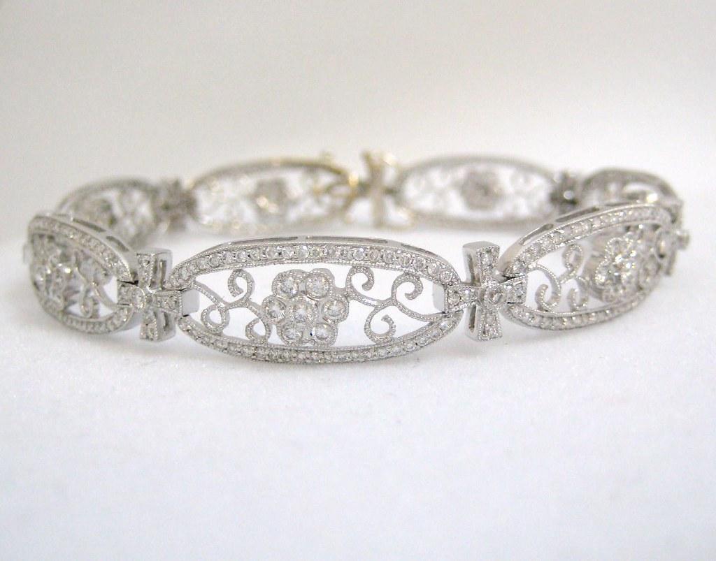 Stunning 3.72 ct. tw. Diamond Filigree Bracelet with Floral Motif  set in 18k White Gold - $4,000