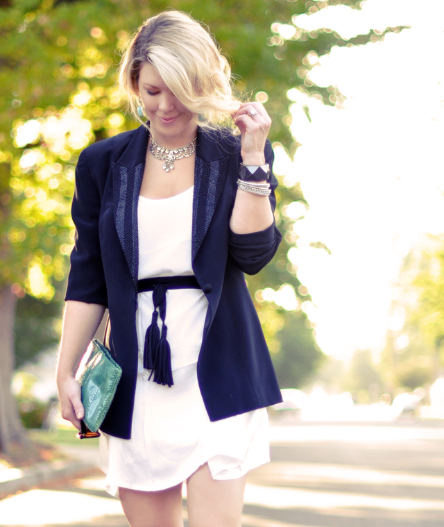 white dress-black blazer with glitter lapels-tassel belt