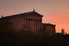 Art Museum sunset (lucymagoo_images) Tags: city pink light sunset sky urban art philadelphia lines museum architecture clouds pen golden day cloudy patterns columns olympus philly fairmount olympuspen epl1 lucymagoo lucymagooimages