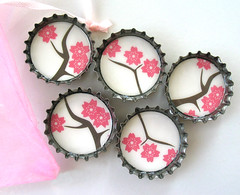 Pink Cherry Blossom Flowers on Branches- Up Cycled Bottlecap Magnets (BeansThings) Tags: pink brown white flower nature leaves asian japanese spring pretty blossom recycled feminine chinese housewares cherryblossom sakura magnet bottlecap treebranches upcycled beansthings