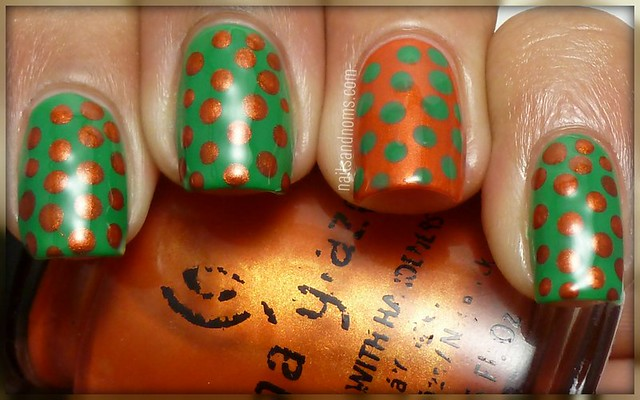 Day 11: Polka Dots (China Glaze - Free Love & Essie - Pretty Edgy)