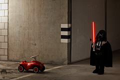 Volkswagen Ad Rehearsal (Prozac74) Tags: car dark volkswagen starwars costume force garage ad lightsaber darthvader dignity darkside fullsize ignition bobbycar strobist activeassignmentmonthly canonef85mmf12liiusm canonspeedlite580exii canoneos5dmarkii prozac09 ishootpt04iswirelessflashtriggerpt04 canonspeedlite420ez reenactmentofacommercialad