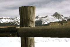 Mount Sneffels (Alias Rex) Tags: wood snow nature lines fence landscape outdoors colorado scenic rockymountains picturesque ridgway highaltitude mountainrange scencery
