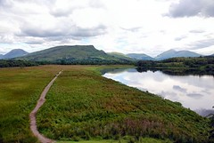 The road less travelled (floato) Tags: road uk mountains reflection castle water rock scotland countryside britain path ruin loch less isolated travelled the kilchurn