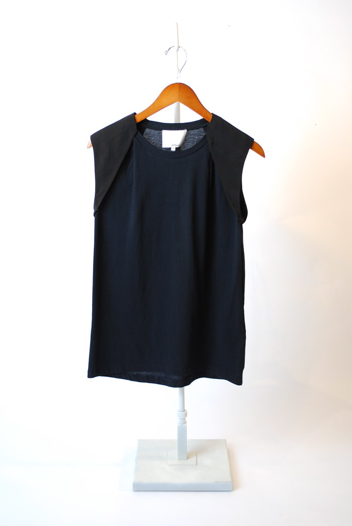 Sleeveless Tee with Silk Shoulders