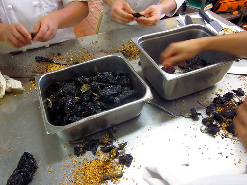 seeding dried peppers