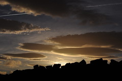 Are there rock monsters up there? Quarry stones in silhouette