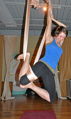 Kerry Crawford at aerial yoga at Give Yoga, Memphis, Tenn.