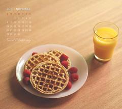 November Calendar (Faisal | Photography) Tags: life yellow breakfast eos still berry soft dof bokeh juice 14 strawberries usm 50 tones ef waffle ef50mmf14usm 50d canoneos50d novembercalendar faisal|photography فيصلالعلي