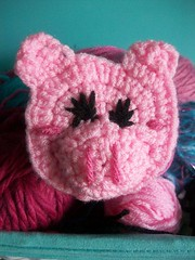 Piggy pig hair clip (Mooy) Tags: pink cute animal piggy pig crochet kawaii hairclip