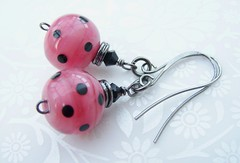 Teenage Kicks (Glittering Prize - Trudi) Tags: pink black glass beads handmade polka jewellery earrings jewelery slinky dots trudi lampwork glitteringprize