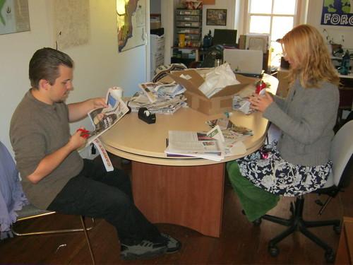 TTF's interns, Damian VanHart and Lauren Suchenski hard at work