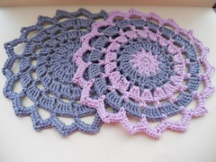 Pink Grey Crochet Doily (sophiecat91) Tags: crochet coaster doily tablemat