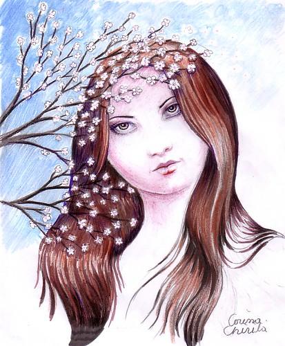 Portret de primavara - Chipul primaverii o fecioara frumoasa ca o primavara desen - Spring portrait drawing