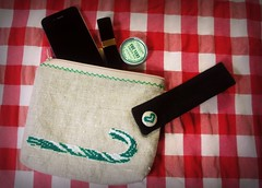Green Candy Cane (Deep Indigo) Tags: christmas xmas green bag navidad crossstitch candy heart handmade linen embroidery fabric pouch button clutch candycane makeupcase naturallinen xmaspouch