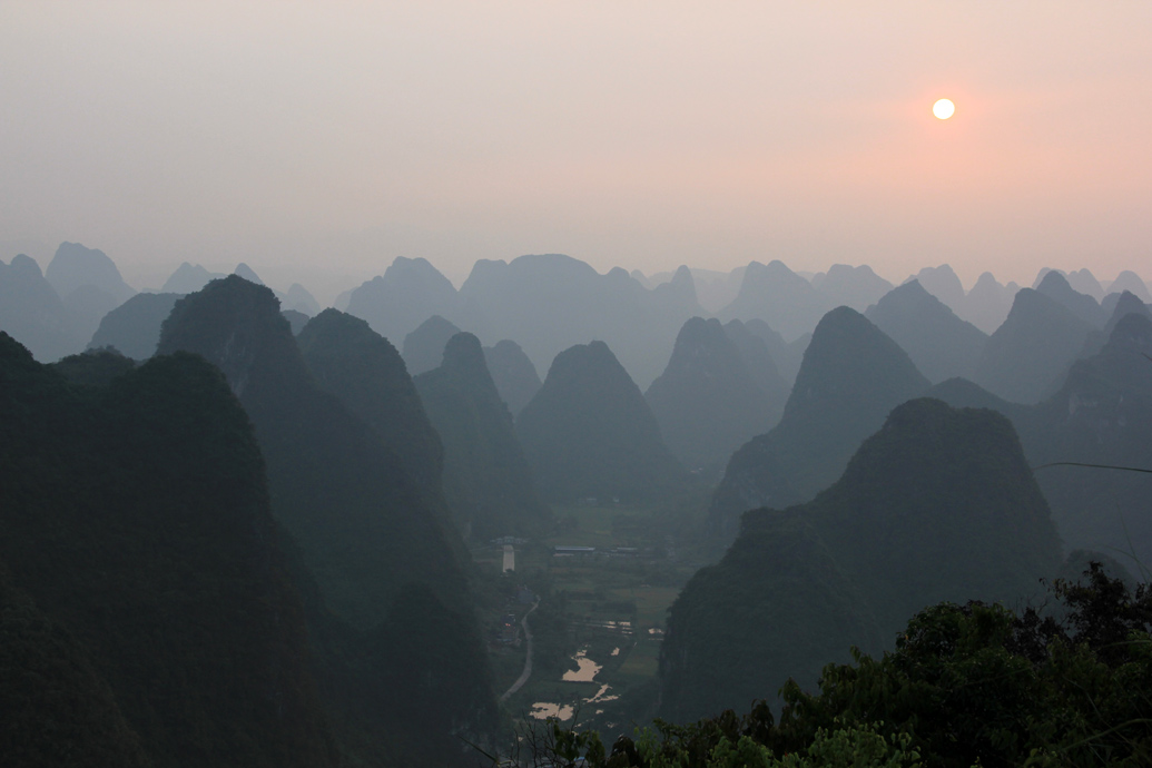 Sunset in Yangshuo, China