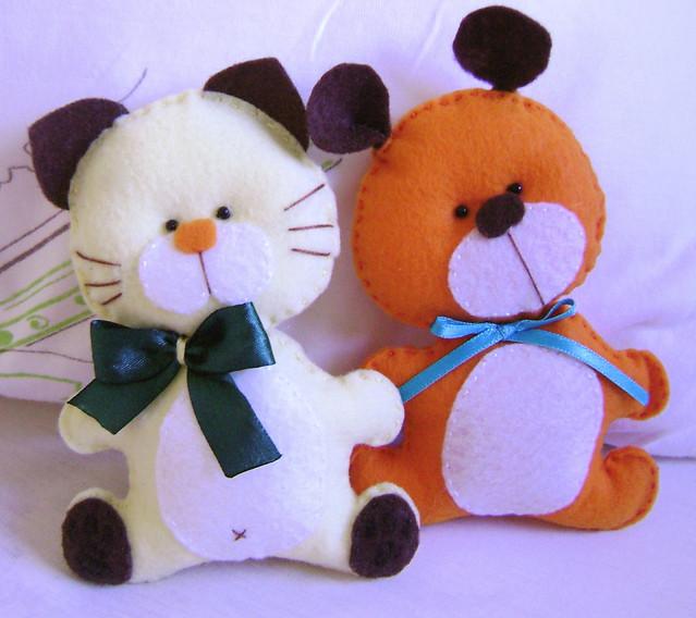 Bichinhos de feltro - Gatinho e Ursinho