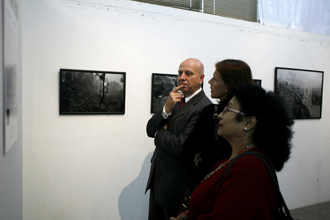 The OPENING: The British Ambassador viewing works. Photo: Kishor K. Sharma