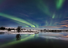 Magnetic Disturbance, Aurora at ingvellir, Iceland (orvaratli) Tags: winter sky lake snow storm reflection ice weather night photography solar iceland astro arctic aurora thingvellir ingvellir magnetic northernlights borealis arcticphoto