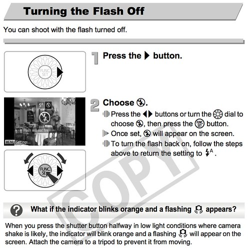 Canon SD4000 -- Turning Flash Off