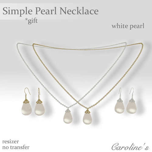 Caroline's Jewelry Simple Pearl Necklace Set White Gift
