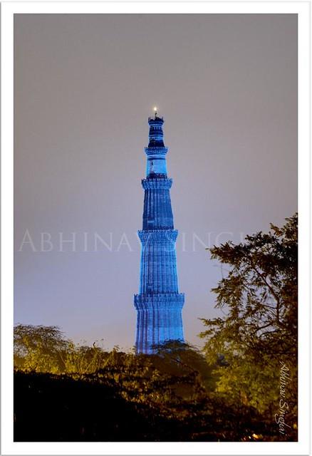 Qutab Minar Turns Blue