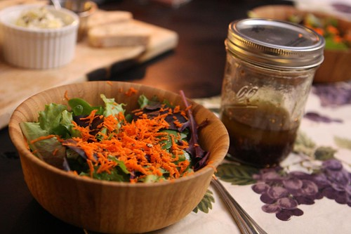 Salad with Balsamic Dijon Vinaigrette in Jar