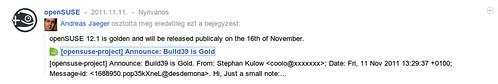 Arannyá vált az openSUSE 12.1