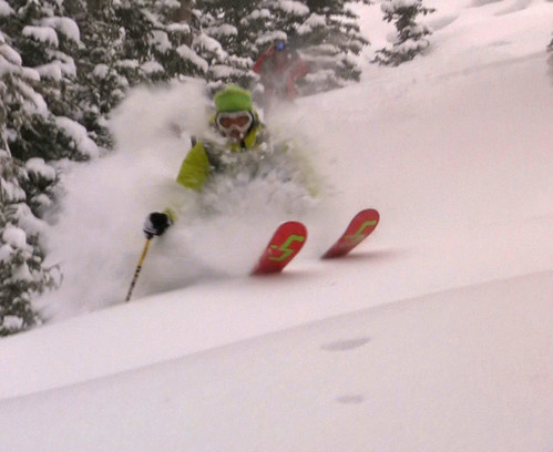 Jamie Pierre skiing in Big Sky circa 2010