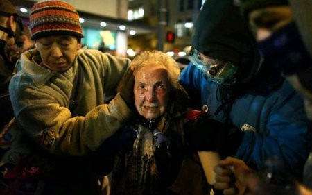Dorli Rainey, 84, pepper sprayed in the face at Occupy Seattle