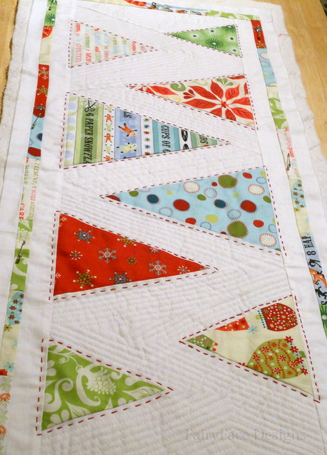 Minimalist trees runner partially quilted
