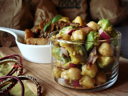 Braised Cardamom-Curry Veal & Avocado Chickpea Salad