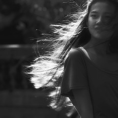 Sunny and Windy (-clicking-) Tags: girls portrait blackandwhite bw sun sunlight monochrome beautiful sunshine backlight hair square blackwhite asia mood faces emotion bokeh windy sunny vietnam squareformat prettygirls visage nocolors 500x500 vietnamesegirls blackwhitephotos chândung