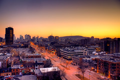 Montreal (Evan Shay) Tags: bridge sunset urban skyline quebec montreal cartier jacques hdr urbanity