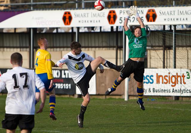 Bamber Bridge v Warrington - Darren Green challenges keeper