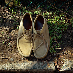 Cumfy-Looking (JeffStewartPhotos) Tags: abandoned comfortable found shoes waiting peaceful unwanted understated roadside arranged orderly subdued curbside discovered unneeded disgarded wellworn cumfy beenaroundtheblock dspw dimsumphotowalk dimsumphotowalks