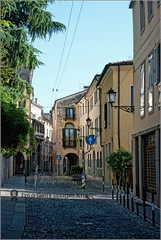 Narow street of Padova (Stefan Cioata) Tags: street old light shadow summer vacation italy holiday beautiful photography photo europe italia afternoon image sale empty great stock shades best explore getty destination top10 available padova outstanding narow padua touristical
