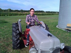 Me on an  old Ford tractor (Hep2jive) Tags: green classic chevrolet car automobile deluxe twink future 1949 fleetline