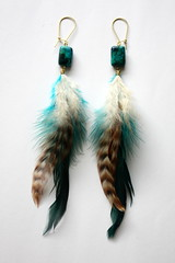 Natural Feather Earrings (Amorio Designs) Tags: bronze feather earring turqouise jewelry chrysocolla roosterfeather
