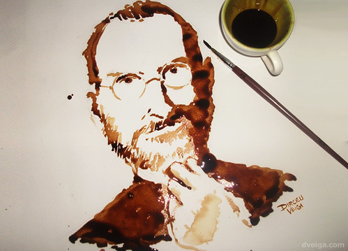 Steve Jobs Tribute Art - Coffee Painting