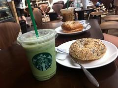 bagel and a green tea latte. (brendan gibson) Tags: china food green hongkong asia tea hong kong starbucks bagel latte theeast mealz