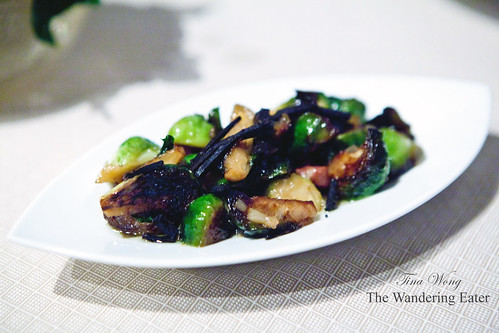 Off-menu Contorni (side dish): Braised brussels sprouts, bacon, and generous amounts of my Perigord black truffles, shredded